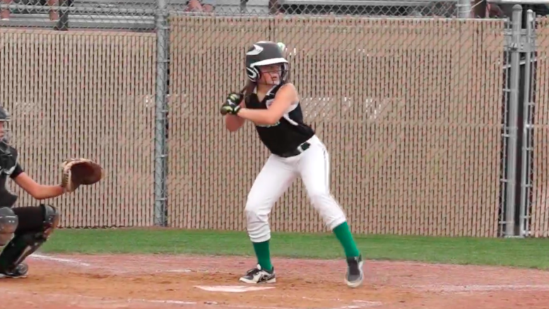 Anna Stanley steps up to the plate and hits a double.
