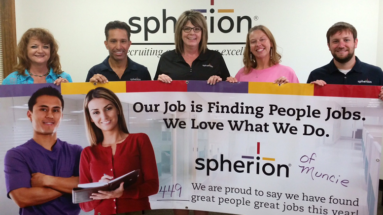 The Spherion team celebrates their third year of operation in Muncie, IN
