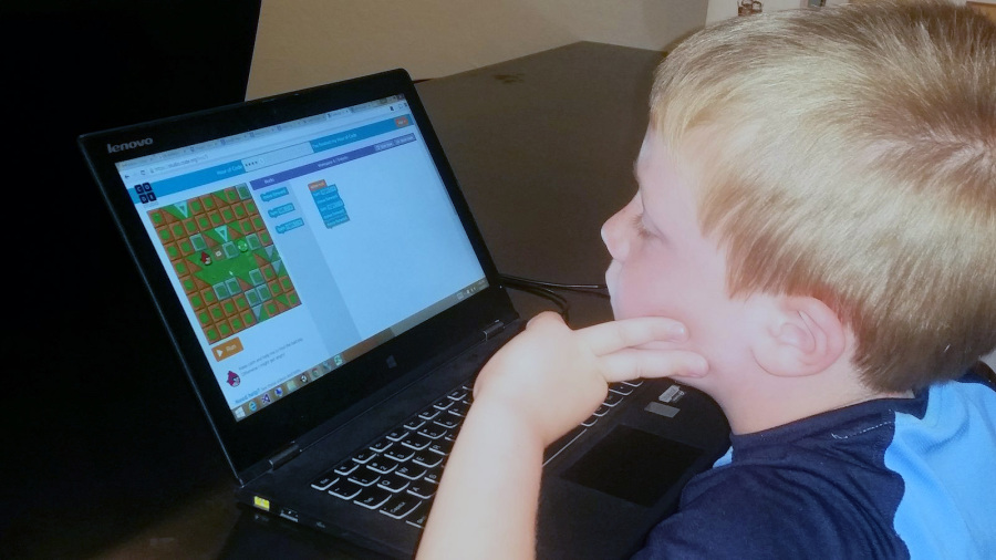 A child learning coding basics at Techwise Academy. Photo: techwiseacademy.com