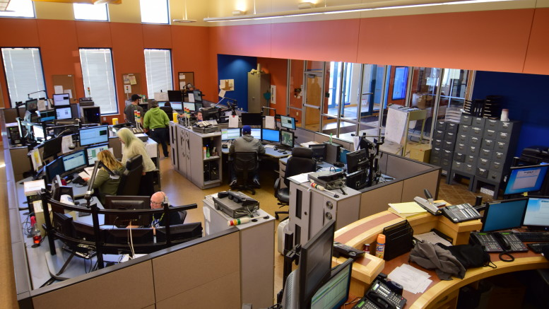 Inside the dispatch center (911) at the Delaware County Emergency Operations Center. Photo by: Mike Rhodes