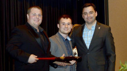 Casey Stanley of Ontario Systems is pictured with Big Idea Pitch 1st Place Winners - Brent Allred & Tyler Harris – Avec Audio. Photo provided.