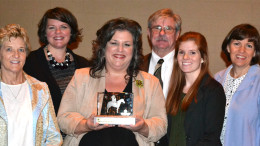Project Leadership's Delaware County team is honored with the Chamber's Outstanding Contributions in Education Award. Left to right: Kaye Harrell, Sue Godfrey, Tammy Pearson, Dick Daniel, Camille Mosier, and Julie McGee. Photo provided.