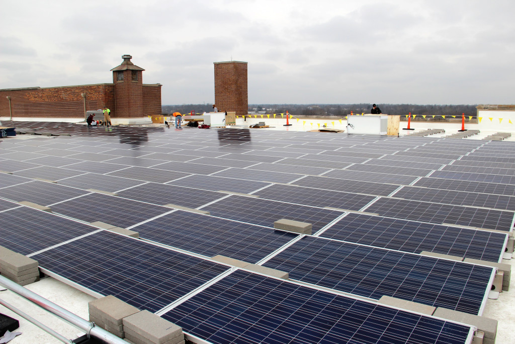 The roof-mounted solar array at Cornerstone is pictured. Photo provided.