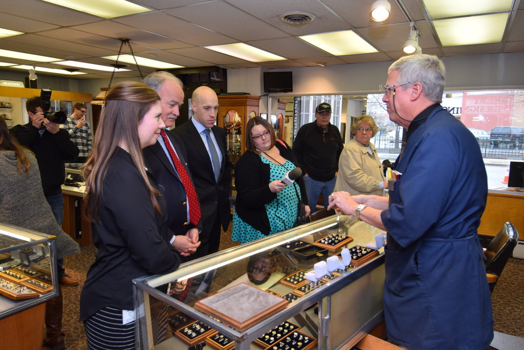 Todd Murray demonstrates some of the jewelry showcased in the Bicentennial Marketplace during First Lady Karen Pence's visit today. Photo by: Mike Rhodes