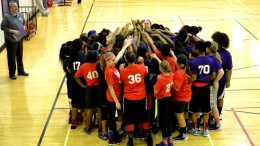 Ice League girls huddle. Photo provided.