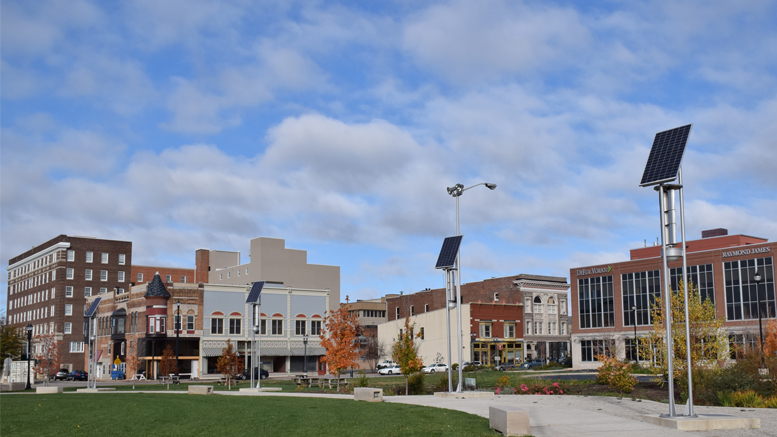 A view of downtown Muncie at the north end of Canan Commons. Photo by: Mike Rhodes