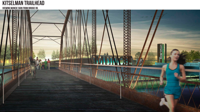 Artist rendering of Kitselman Trailhead and Muncie Sign from Bridge 85.