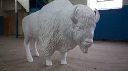 The bison will reside in Gearbox until its permanent installation in Tuhey Park. Photo provided.