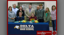 2016 Lilly Endowment Community Scholarship Award recipients, Nicolas Bantz and Anna Groover, both from Delta High School, pose with their families and Community Foundation Staff.