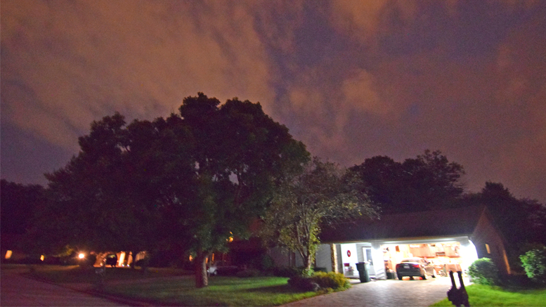 A view of the night sky in Muncie after the tornado sirens sounded in Delaware County. Photo by: Mike Rhodes