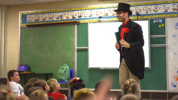 Professor Watermelon gives a presentation about James Whitcomb Riley to third and fourth graders at South View Elementary School.