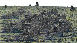 "Josh Winkler, ""Sturgis"", color woodcut, 2016"