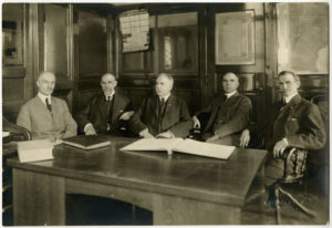 Iconic photo of the five Ball Brothers in their Muncie office. Learn more about one of the private foundations that carries their name: http://www.ballfdn.org/about-bbf/bbf-history/. Photo courtesy of The Minnetrista Heritage Collection.