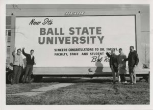 "In 1965, Ball State Teachers College was renamed ""Ball State University"" by the Indiana General Assembly. BBF has been a strong supporter of the university throughout its existence. Historical photo courtesy of Ball State University Archives and Special Collections."