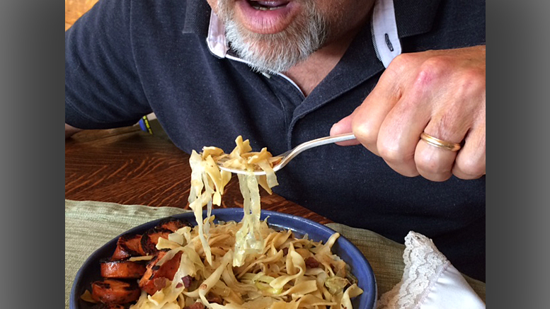 Here's a demonstration of the crass way to hold a fork. Photo by: Nancy Carlson