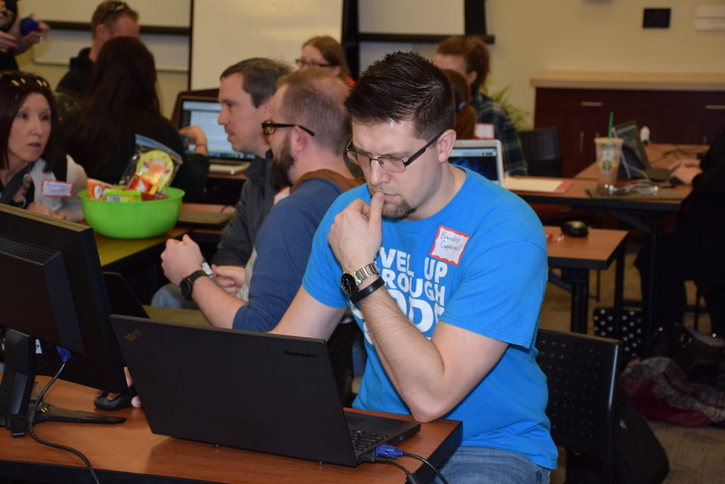 Brandon Coppernoll, a web developer on the Christian Ministries team, concentrates on the task at hand.