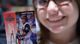 What could be more delightful to a child than a signed baseball card by Corky Miller? Photo by: Mike Rhodes