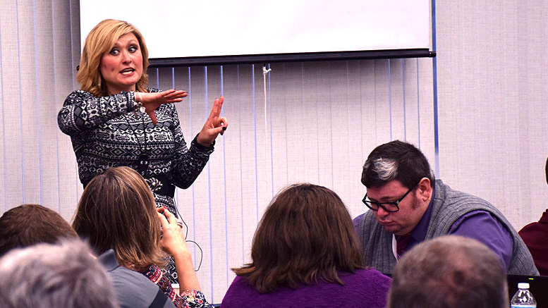 Holly is pictured presenting to educators from around the state during a Tuesday educational session at Yorktown Middle School. Photo by: Mike Rhodes