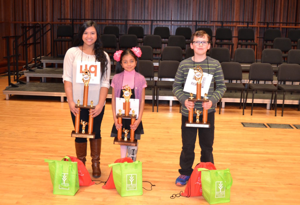 Last year's WIPB Spelling Bee Champion Samantha Academia from Yorktown Middle School, first runner-up Alesya Rathinasamy from Burris Laboratory School and second runner-up Caleb Roberts from Heritage Hall Christian School.
