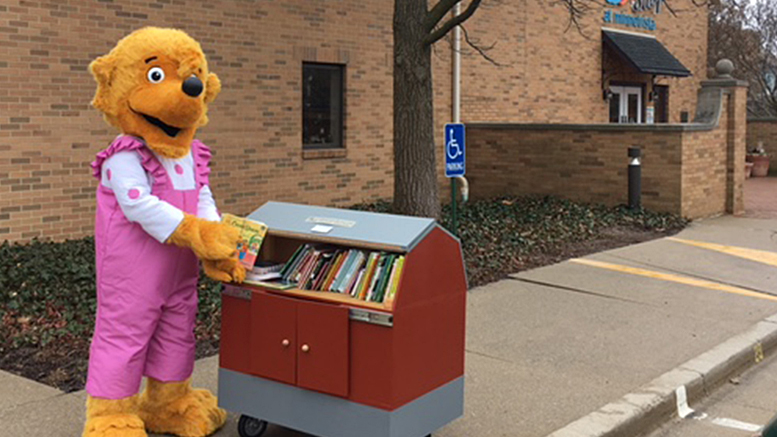 Sister Bear visits Minnetrista to donate a set of Berenstain Bears books to their Little Free Library for Library Lovers Month in February. PrimeTrust Federal Credit Union is introducing The Berenstain Bears Financial Literacy Program on April 1 with an Open House at their Bethel Branch. Photo provided.