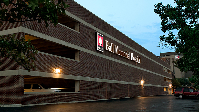 IU Health Ball Memorial Hospital signage on parking garage. Photo provided.