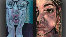 "L to R: ""Morado"" by Casey Myers and ""Powerless"", self portrait by Casey Myers."