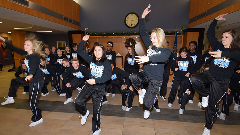 The Delaware County Pride Team performs in the lobby of IU Health, Ball Memorial Hospital. Photo by: Mike Rhodes