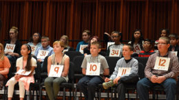 Students are pictured from last year's WIPB spelling bee. Photo provided.
