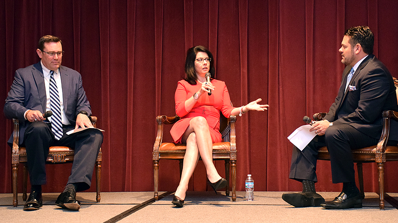 Janet Holcomb, Indiana's First Lady answers questions during a panel discussion with Jud Fisher and Jeff Daniels during the Muncie-Delaware County Economic Development Alliance introduction of the Vision 2021 economic development plan. Photo by: Mike Rhodes