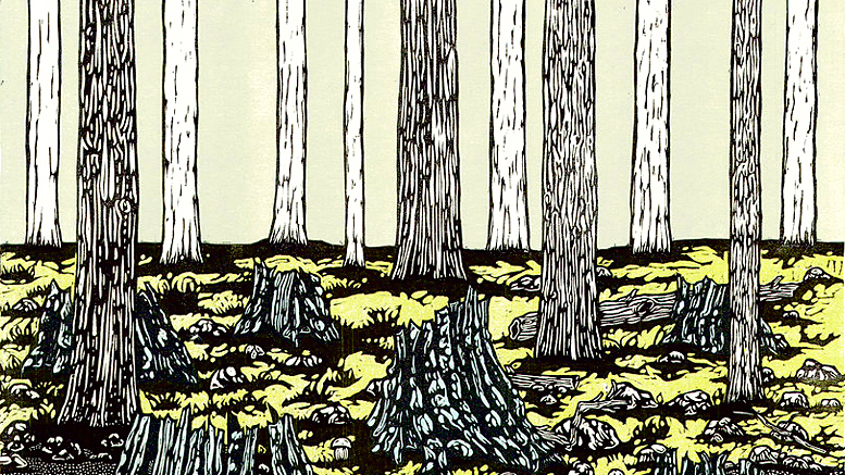 Josh Winkler, The American Chestnut - Ghosts on the Appalachian Trail, color woodcut.