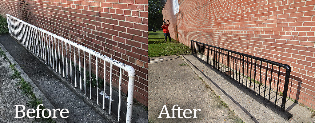 Before and after photos of the bike rack repainting and exterior power washing of the building. Photo by: Mike Rhodes