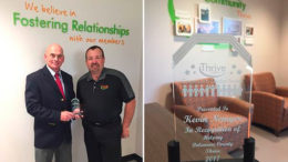 (L-R) Kevin Nemyer is pictured with Brett Rinker, CEO of Thrive Credit Union. Photo provided.