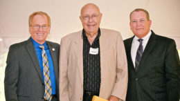 (L-R) Mayor Dennis Tyler, Ned Griner, recipient of the 2015 Mayor's Arts Award for Lifetime Achievement and Steven Merritt. Photo provided.