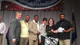 Awards were presented by NUSA president Tige Watts and accepted by Kenyonta Hudson, Whitely Community Council Executive Director; Cornelius and Mary Dollison; Rebecca Parker, Technology Coordinator for Muncie Public Library; and Frank Scott, Whitely Community Council President. Photo provided.