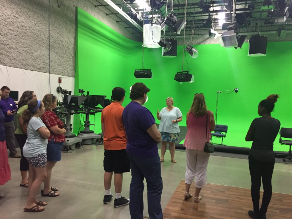 MPL Film School Students and Family Members Enjoy a Tour of BSU Telecommunications Department. Photo by: Rebecca Parker