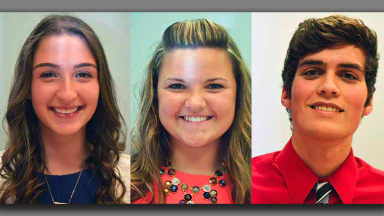 (L-R) Tri Kappa Scholarship winners: Erica Bergman, Olivia Phillips, Damien Wilson. Photo provided.