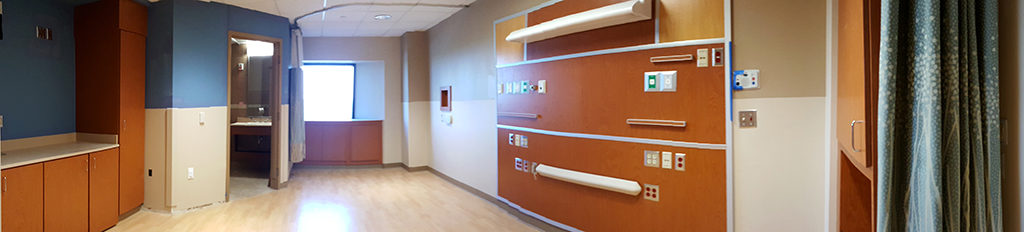 One of the first rooms to be completed on the newly remodeled 9N Adult Surgical Unit is showcased before furnishings are installed.