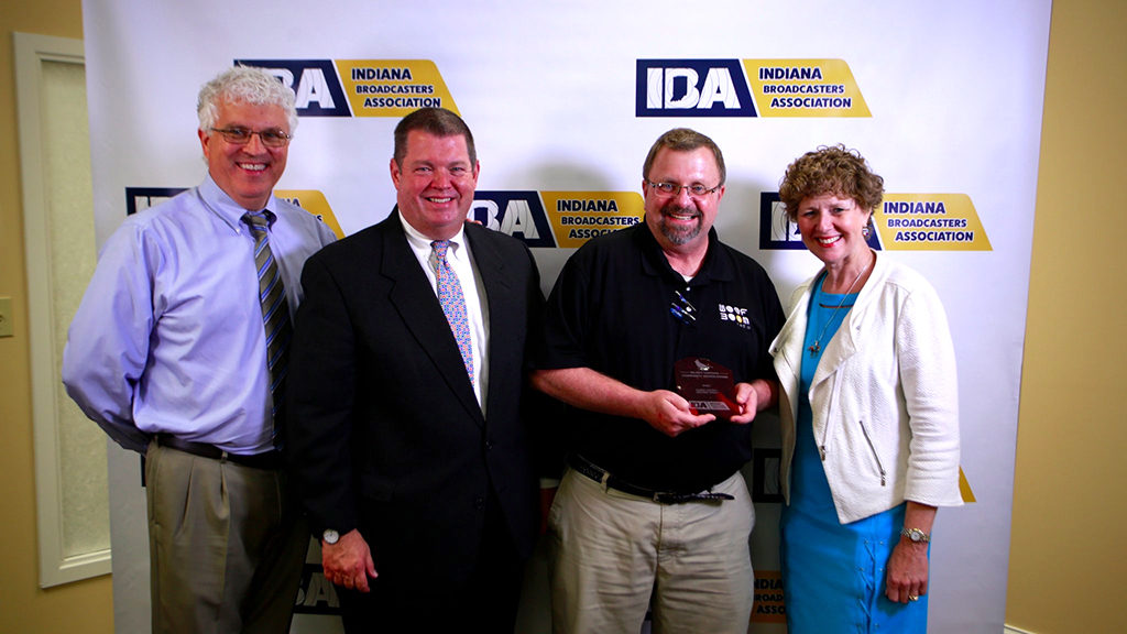 L-R: Steve Lindell, Vice-President of Operations; Dave Arland, Executive Director of the IBA; Doug Took, on-air personality for WHBU and Congresswoman Susan Brooks.