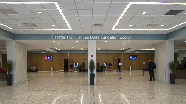 A view inside the George and Frances Ball Foundation lobby inside the newly remodeled Emens Auditorium. File photo.