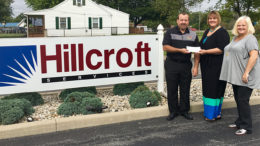 (L-R) Thrive CEO, Brett Rinker, presents check to Hillcroft President-CEO Debbie Bennett and Hillcroft VP of Therapy Services LeAnne Cole. Photo provided.