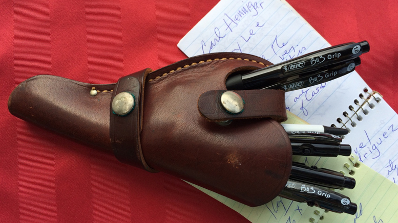 A newspaperman's holster, chock full of Bic pens. Photo by: Nancy Carlson