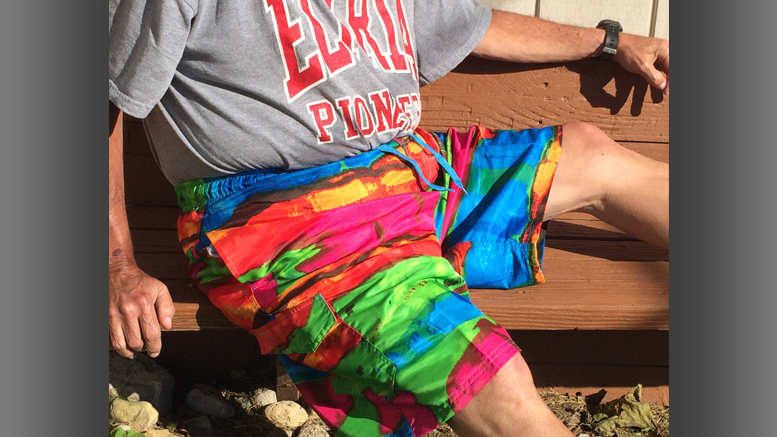 New swim trunks make you look on the bright side. Photo by: Nancy Carlson