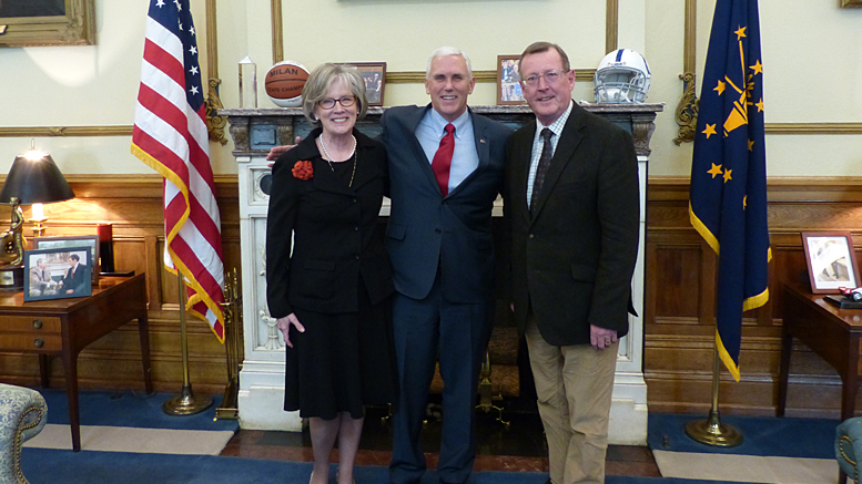 Kathryn Kennison, U.S. Vice President Pence (then-governor), and the Rt. Hon. David Trimble. Photo provided and taken November 14, 2014.