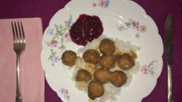 Swedish meatballs on rice with some lingonberry jam. Photo by: Nancy Carlson