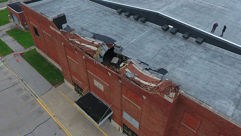 Damage to the Muncie Fieldhouse roof as photographed by: Roger Overbey