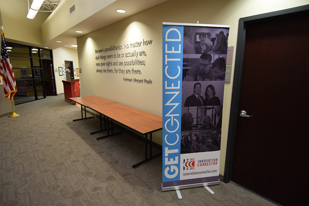 "A ""Get Connected"" banner is pictured inside the Innovation Connector."