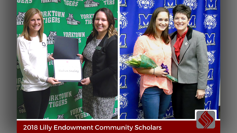 Madison Smalstig of Yorktown High School and Kelby Stallings of Muncie Central High School have been selected as the recipients of the 2018 Lilly Endowment Community Scholarship by The Community Foundation of Muncie and Delaware County.