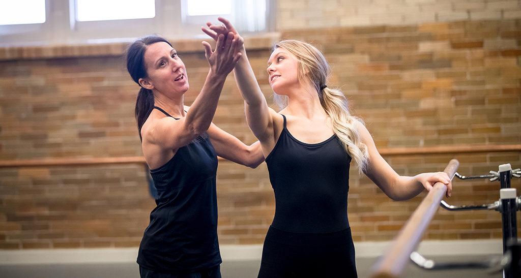 Susan Koper, a Ball State dance professor, works with Ciara Borg at a recent dance training session. Photo provided.