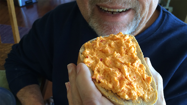 Renewing the pleasure of pimiento cheese spread brings a smile. Photo by: Nancy Carlson