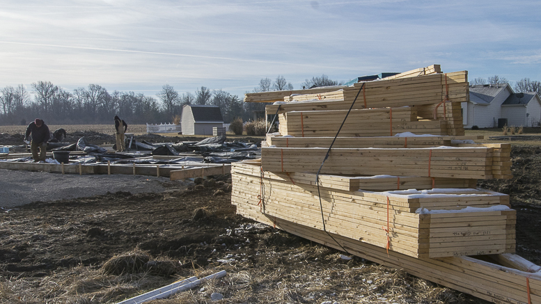 A new home under construction at Emerald Pointe, 1300 W. Sheffield Drive, Muncie, IN as photographed on February 13th. More homebuilding like this is needed. Photo by: Mike Rhodes